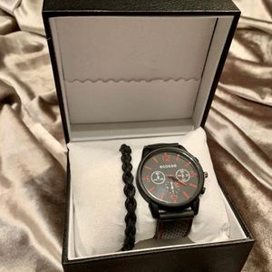 📌BRAND NEW black/red watch set for men